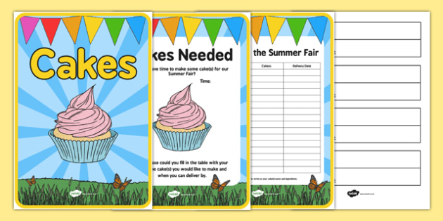 Elderly Care Summer Fair Cakes Needed Poster and Tags - Elderly, Reminiscence, Care Homes, Summer Fair