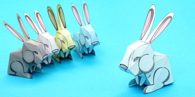 Easter Bunny Rabbit Paper Model - easter, bunny, rabbit, craft