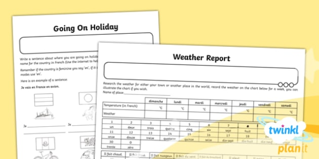 PlanIt - French Year 4 - Holidays and Hobbies Home Learning Tasks - french, languages, grammar, weather, seasons, holidays, sports, hobbies, ks2, mfl, planning