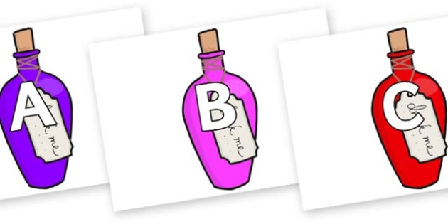 A-Z Alphabet on Drink Me Bottles - A-Z, A4, display, Alphabet frieze, Display letters, Letter posters, A-Z letters, Alphabet flashcards