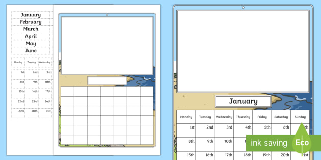 Cut and Stick Monthly Calendar Template - Measurement, measures, language related to dates, dates, calendar, month, months, months of the year