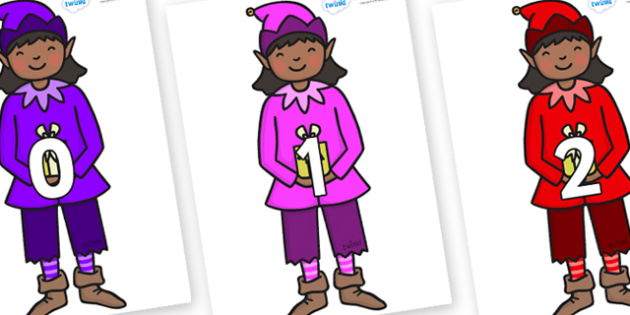 Numbers 0-100 on Girl Elves (Multicolour) - 0-100, foundation stage numeracy, Number recognition, Number flashcards, counting, number frieze, Display numbers, number posters