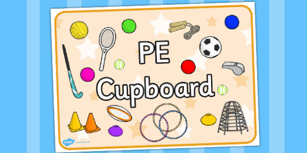 PE Cupboard Sign - cupboard, pe, sign, physical, display sign
