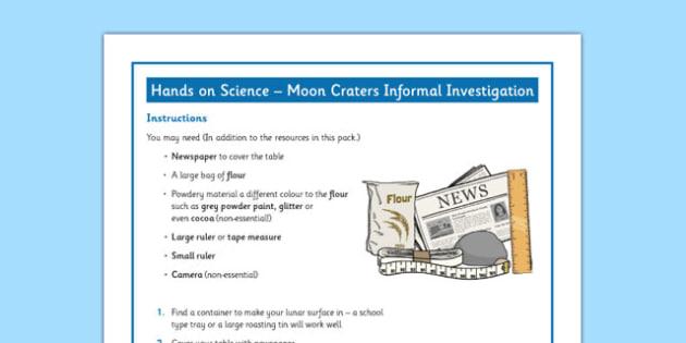 Lunar Craters Informal Investigation - lunar craters, informal, investigation