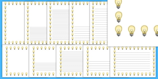 Light Bulb Portrait Page Borders- Portrait Page Borders - Page border, border, writing template, writing aid, writing frame, a4 border, template, templates, landscape