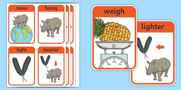 CfE First Level Numeracy and Mathematics Measurement (Mass) Keyword Flashcards