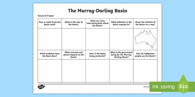 Murray-Darling Basin Research Project Sheet - Water in Australia, Murray River, Murray Darling Basin, sustainability, salinity, pollution, Darling