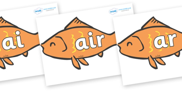 Phase 3 Phonemes on Goldfish - Phonemes, phoneme, Phase 3, Phase three, Foundation, Literacy, Letters and Sounds, DfES, display