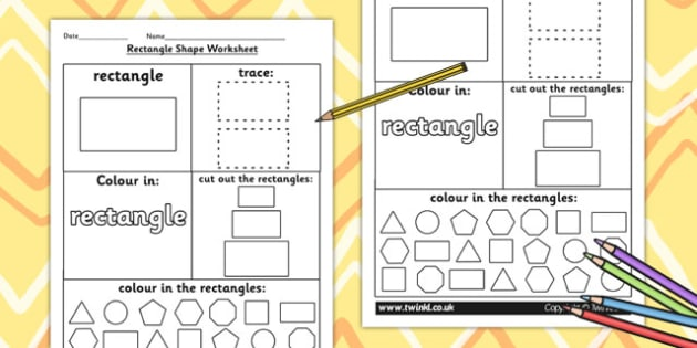 Rectangle Shape Worksheet - shapes, 2D shapes, tracing, numeracy