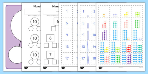 Number Facts to 20 Part Whole Activity Sheets Pack - number, facts, 20, part, whole, activity, pack, worksheet