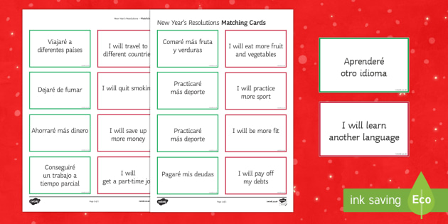 New Year's Resolutions Matching Cards Spanish