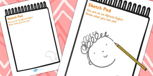 African Safari Sketch Pad - African, Safari, animal, sketching, pad