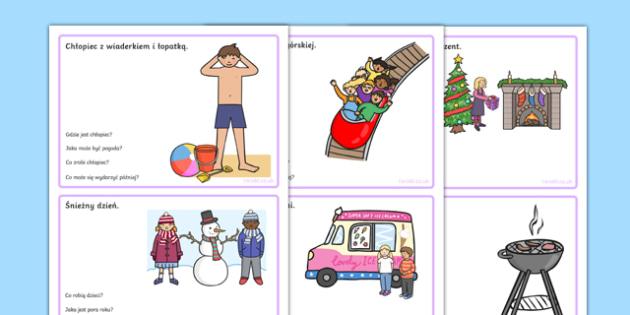 Karty z obrazkami i pytaniami Wnioskowanie po polsku