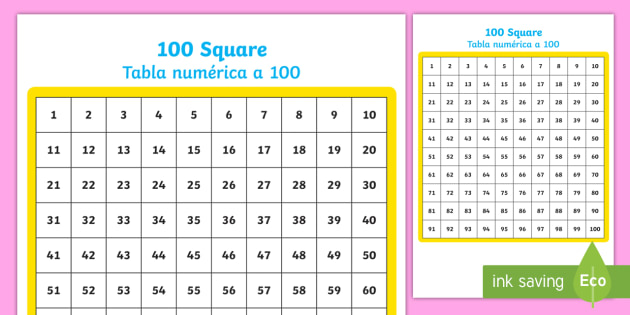 100 Number Square English/Spanish - hundred, Counting, 0-100, 100s, gird, board, numeracy, EAL, translation
