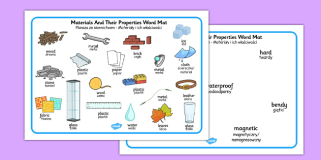 Materials and Their Properties Word Mats Polish Translation - polish, materials, properties, word mat