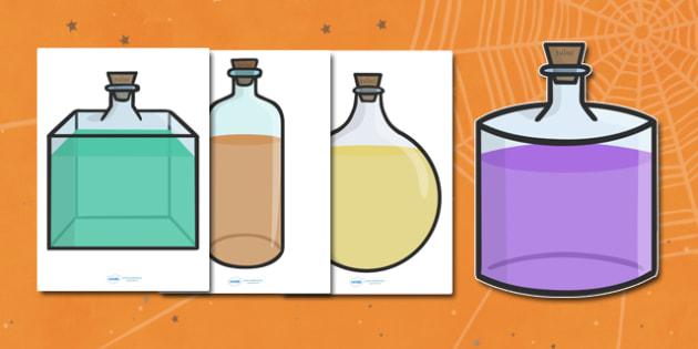 Editable Halloween Potion Bottles (A4) - Editable Halloween Potion Bottles, potion, bottle, A4, display, poster, Halloween, pumpkin, witch, bat, scary, black cat, mummy, grave stone, cauldron, broomstick, haunted house, potion, Hallowe'en