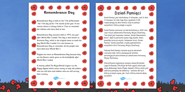 Remembrance Day Information Sheet Polish Translation - polish, remembrance day