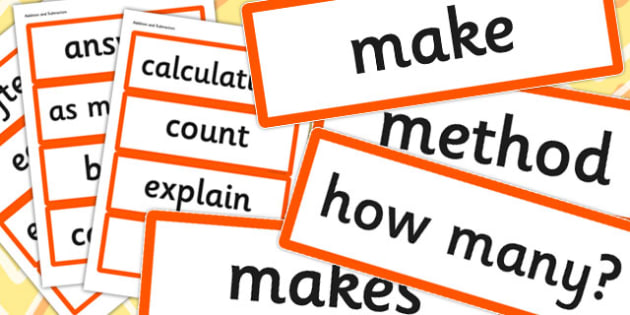 Year 1 2014 Curriculum Addition and Subtraction Vocabulary Cards