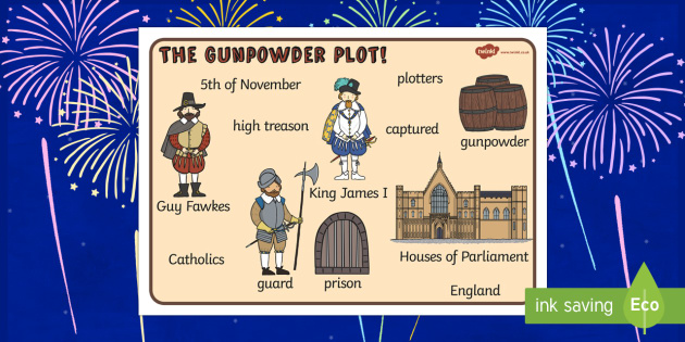 The Gunpowder Plot Word Bank - Story, Bonfire night, word mat, writing aid, mat, Guy Fawkes, bonfire, Houses of Parliament, plot, treason, fireworks, Catholic, Protestant, James I
