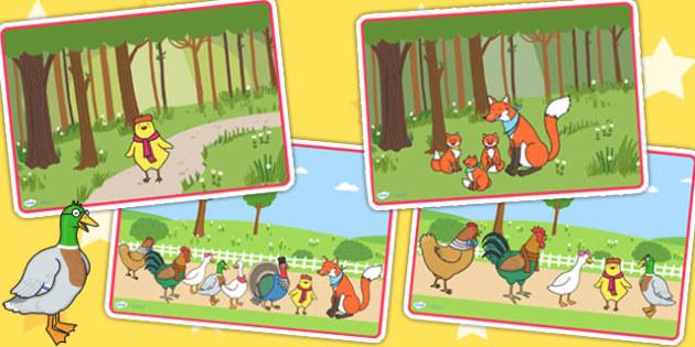 Chicken Licken Story Sequencing - chicken licken, story books