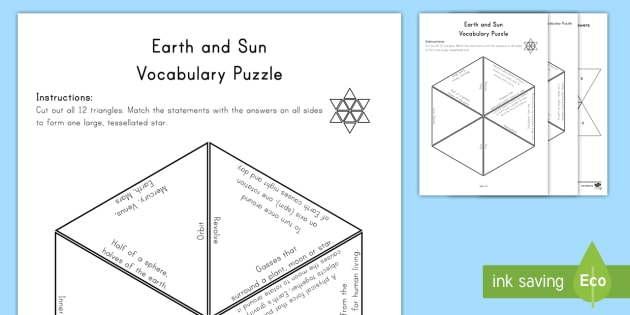 Earth and the Sun Vocabulary Puzzle Vocabulary Puzzles - Science Vocabulary Puzzles, Sun, orbit, axis, equator, hemisphere, sphere, Earth, Moon, star, planet
