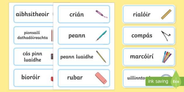 Irish Gaeilge In my Pencil Case Word Cards Gaeilge