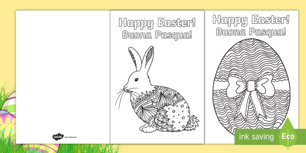 Mindfulness Colouring Easter Cards EnglishItalian  Easter UK