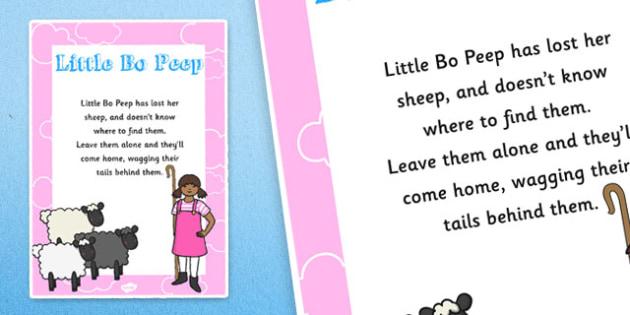 Little Bo Peep Nursery Rhyme Poster - rhymes, display, posters