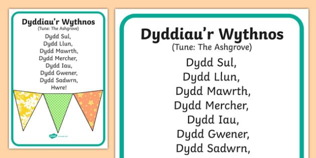Days of the Week Song Lyrics-Welsh