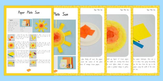 Paper Plate Sun Craft Instructions - nz, new zealand, craft, instructions, sun
