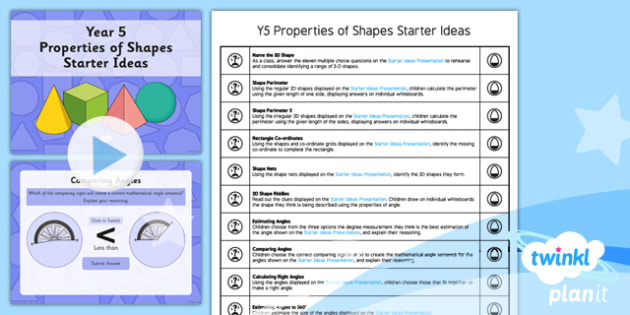 PlanIt Y5 Properties of Shapes Starter Ideas Pack - PlanIt, Properties of Shapes, M&O, mental and oral starters, shapes starters