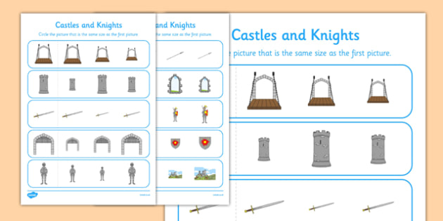 Castles And Knights Size Matching Activity Sheet - match, sort, size, worksheet