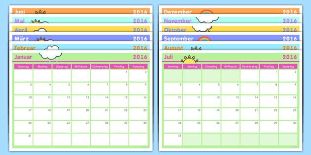 German Calendar - german, calendar, dates, months, days, weeks