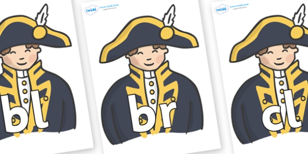 Initial Letter Blends on Admirals - Initial Letters, initial letter, letter blend, letter blends, consonant, consonants, digraph, trigraph, literacy, alphabet, letters, foundation stage literacy