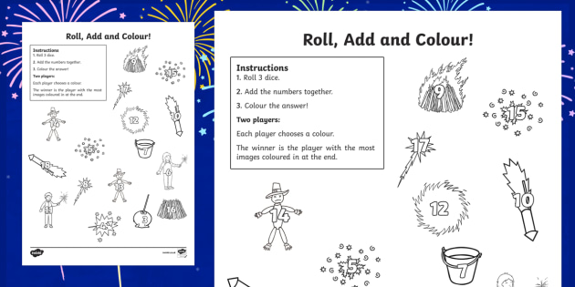 Bonfire Night Themed 3 Dice Roll and Colour Activity Sheet