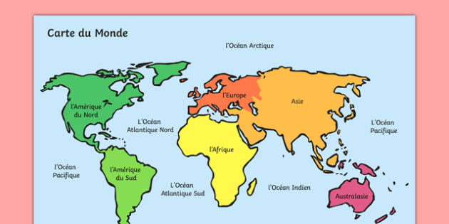 World Map With Names - french, geography, map reading, display map, maps