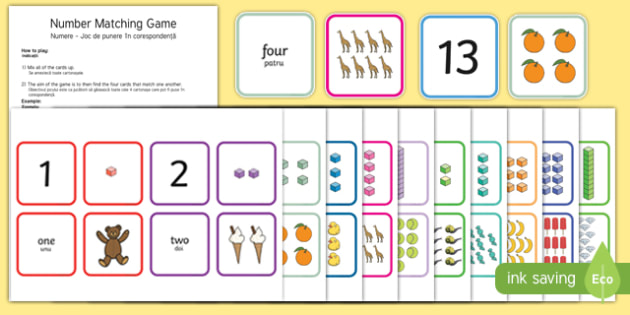 1 to 20 Number Matching Card Game English/Romanian