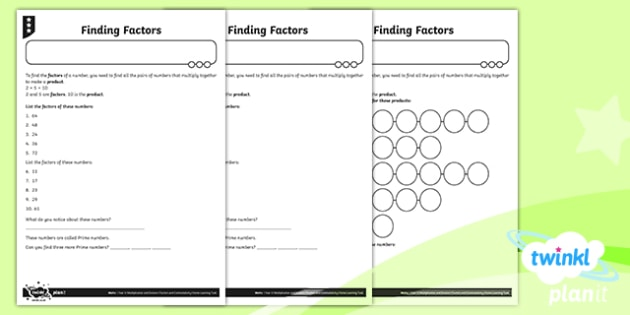 PlanIt Y4 Multiplication and Division Finding Factors Differentated Home Learning
