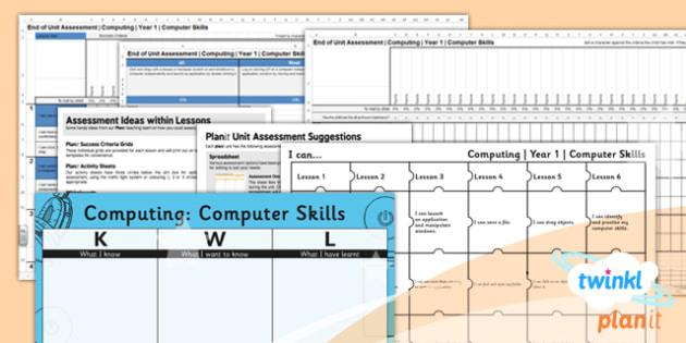 Computing: Computer Skills Year 1 Unit Assessment Pack