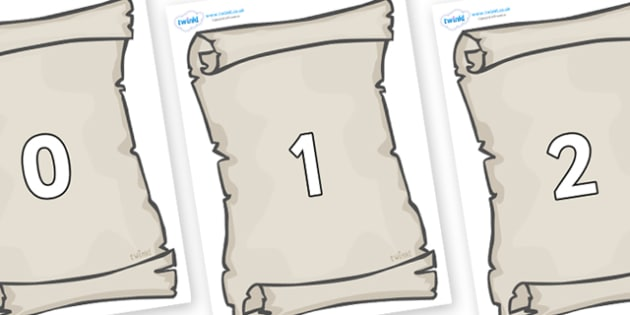 Numbers 0-31 on Scrolls - 0-31, foundation stage numeracy, Number recognition, Number flashcards, counting, number frieze, Display numbers, number posters