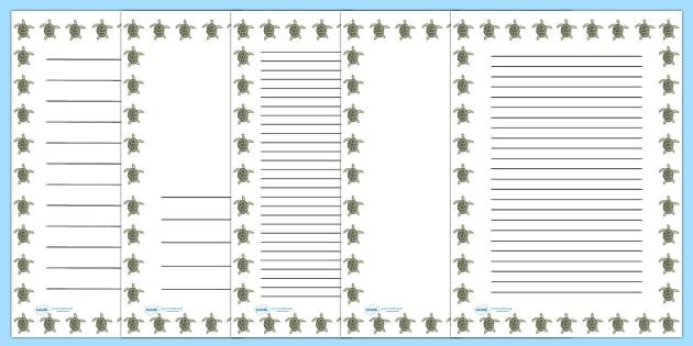 Turtle Portrait Page Borders (Under the Sea) - Portrait Page Borders - Page border, border, writing template, writing aid, writing frame, a4 border, template, templates, landscape