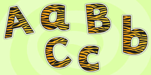 Tiger Themed Size Editable Display Lettering - tiger, display lettering, size editable, editable, themed lettering, tiger themed, lettering for display