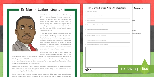 Martin Luther King Jr. Differentiated Reading Comprehension Activity - Martin Luther King Worksheet, Civil Rights