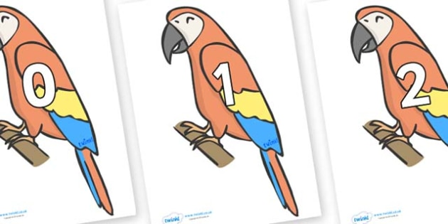 Numbers 0-100 on Parrots - 0-100, foundation stage numeracy, Number recognition, Number flashcards, counting, number frieze, Display numbers, number posters