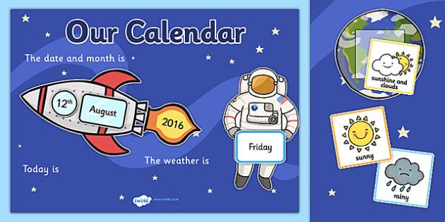 Space Themed Display Calendar - space, display calendar, space calendar, themed display calendar, calendar, classroom display, themed calendar, class dates