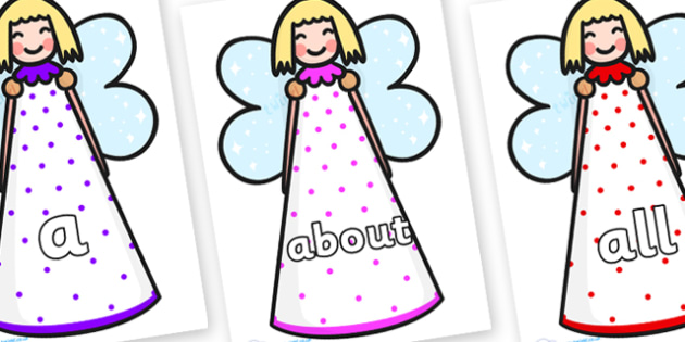 100 High Frequency Words on Christmas Angels - High frequency words, hfw, DfES Letters and Sounds, Letters and Sounds, display words