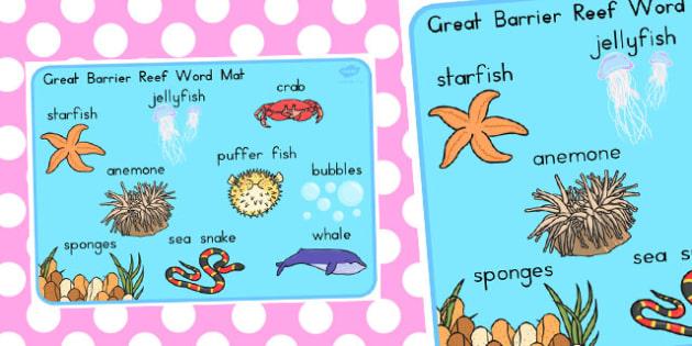 Great Barrier Reef Word Mat - australia, barrier, reef, word, mat