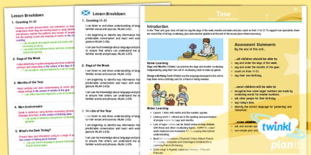 PlanIt - Year 3 French - Time CfE Planning Overview - CfE, Planit, time, modern languages, one plus two, birthdays, days, months, date,French