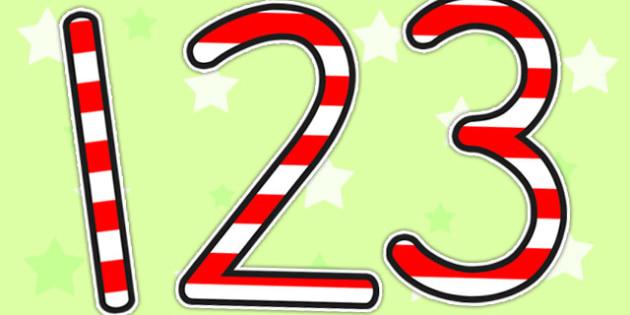 Stripey Red Display Numbers - numbers, display numbers, number