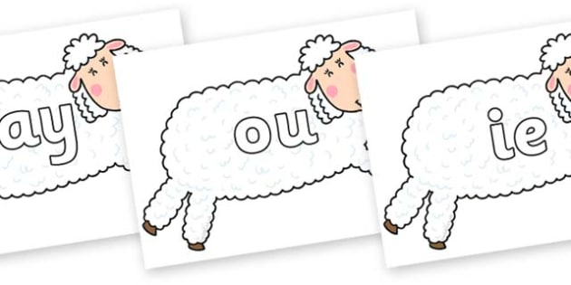 Phase 5 Phonemes on Hullabaloo Sheep to Support Teaching on Farmyard Hullabaloo - Phonemes, phoneme, Phase 5, Phase five, Foundation, Literacy, Letters and Sounds, DfES, display